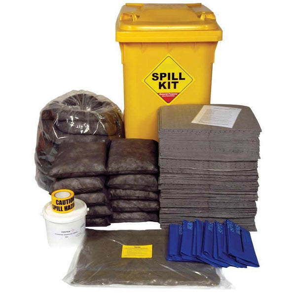 Spill-Safe 350 Litre General Purpose Yellow Wheelie Bin Spill Kits - GSKL - GRFL