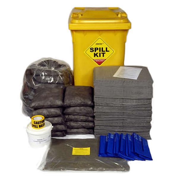 Spill-Safe 250 Litre General Purpose Yellow Wheelie Bin Spill Kits - GSKM - GRFM