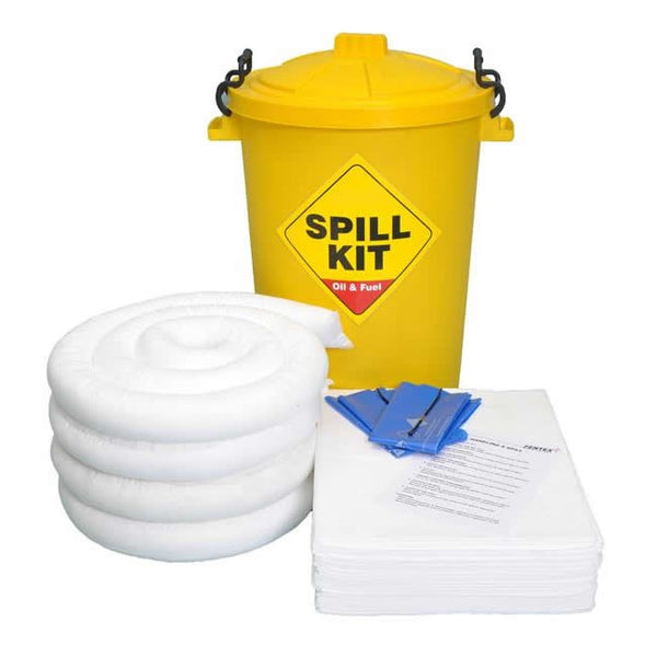 Spill-Safe 80 Litre Oil & Fuel Round Yellow Drum Spill Kits - OSK80RY - ORF80RY