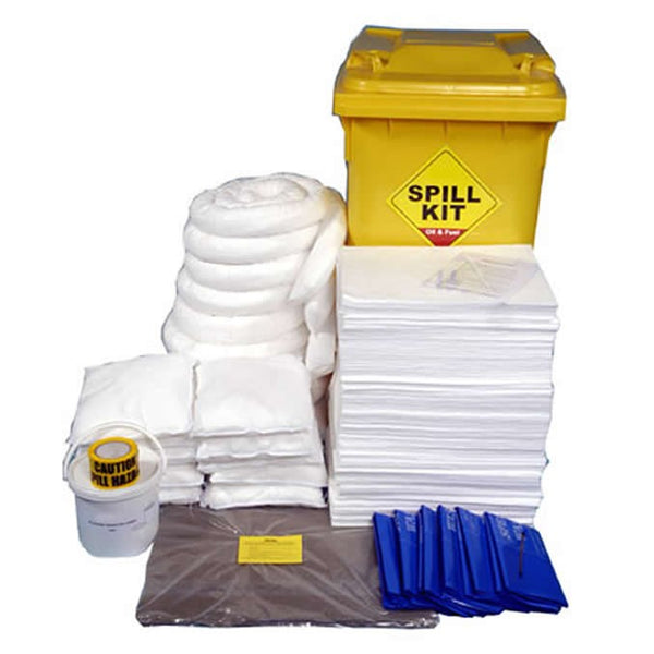 Spill-Safe 350 Litre Oil & Fuel Yellow Wheelie Bin Spill Kits - OSKL - ORFL