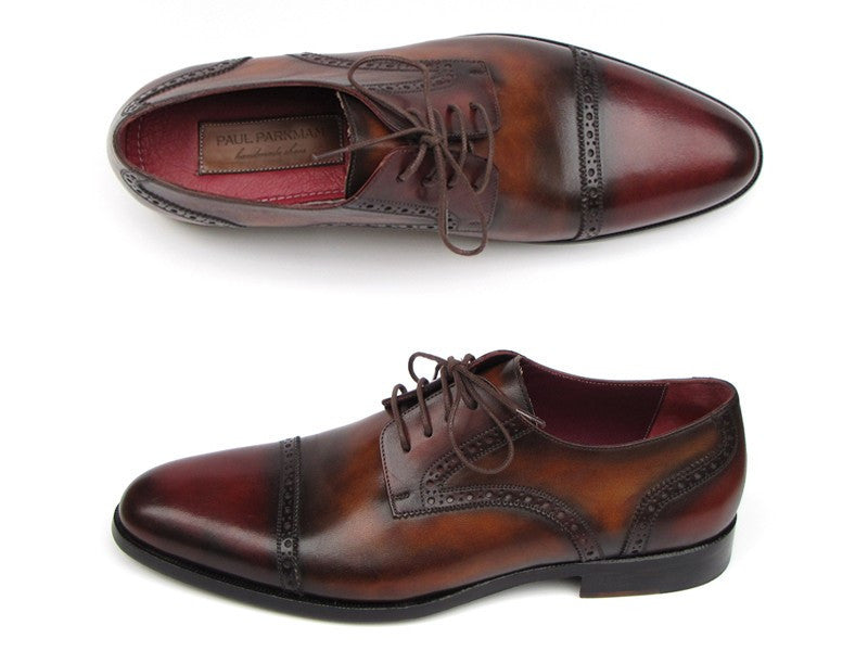 Paul Parkman Men's Bordeaux / Tobacco Derby Shoes Leather Upper and Leather Sole (ID#046-BRD-BRW)
