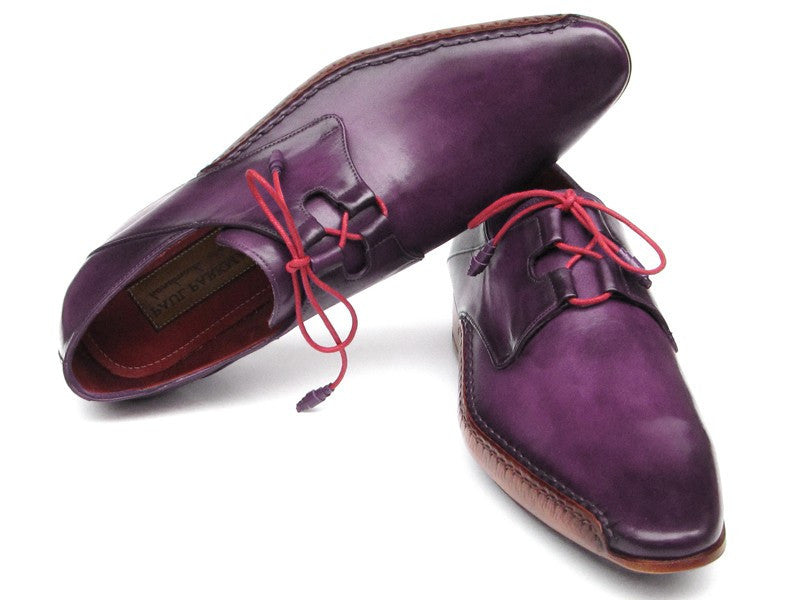 Paul Parkman Men's Ghillie Lacing Side Handsewn Dress Shoes - Purple Leather Upper and Leather Sole (ID#022-PURP)