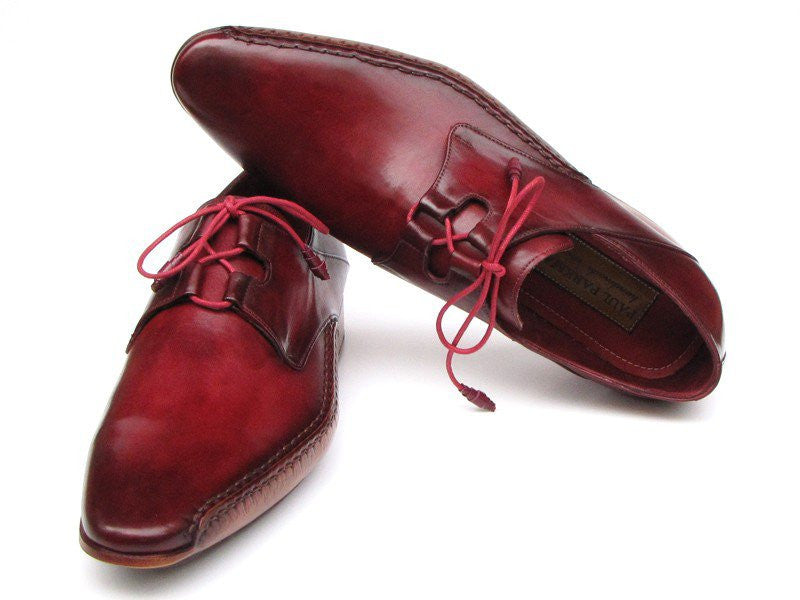 Paul Parkman Men's Ghillie Lacing Side Handsewn Dress Shoes - Burgundy Leather Upper and Leather Sole (ID#022-BUR)