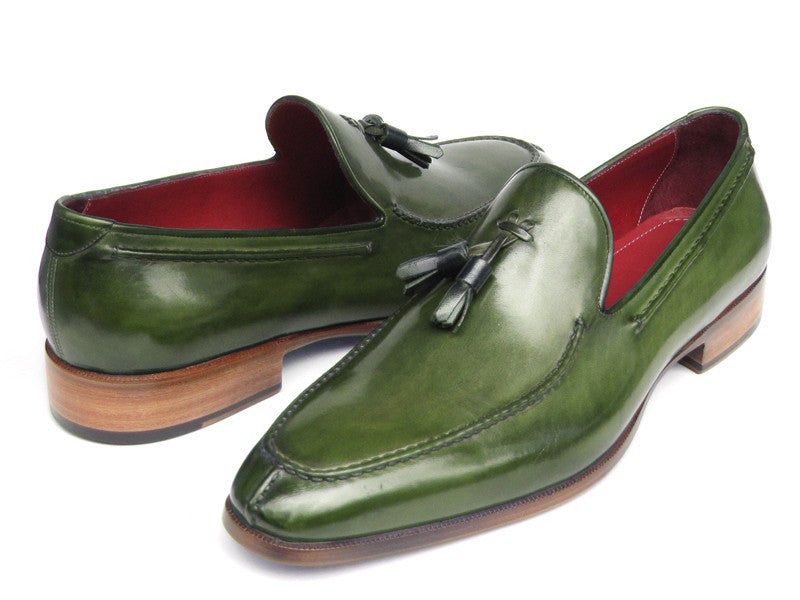 Paul Parkman Men's Tassel Loafer Green Hand Painted Leather (ID#083-GREEN)