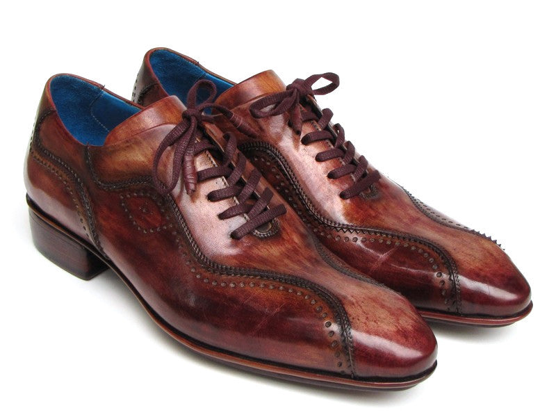 Paul Parkman Handmade Lace-Up Casual Shoes For Men Brown Hand-Painted (ID#84654-BRW)