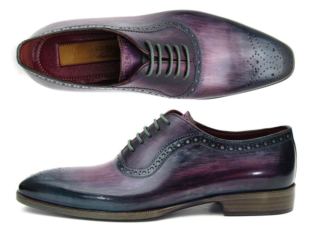 Paul Parkman Men's Purple & Navy Medallion Toe Oxfords (ID#PR88TT)