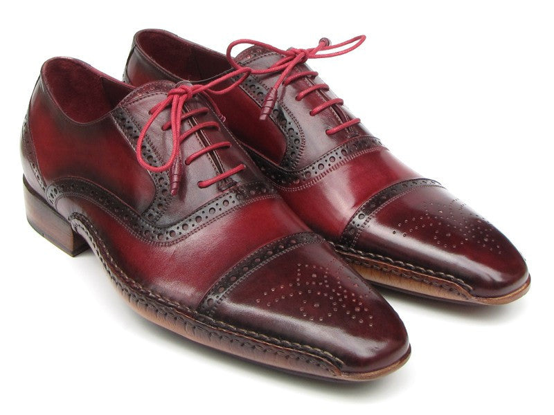 Paul Parkman Men's Side Handsewn Captoe Oxfords - Red / Bordeaux Leather Upper and Leather Sole (ID#5032-BRD)