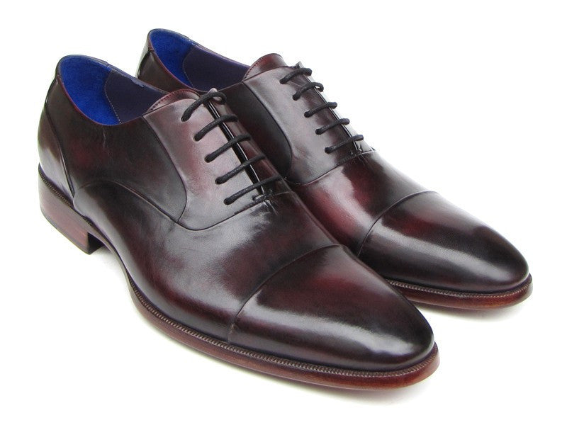 Paul Parkman Men's Captoe Oxfords Black Purple Shoes (ID#074-PURP-BLK)