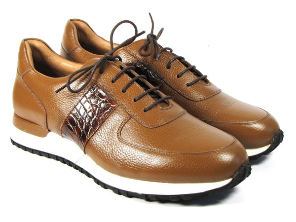 Paul Parkman Men's Cognac Floater Leather Sneakers (ID#LP206CGN)