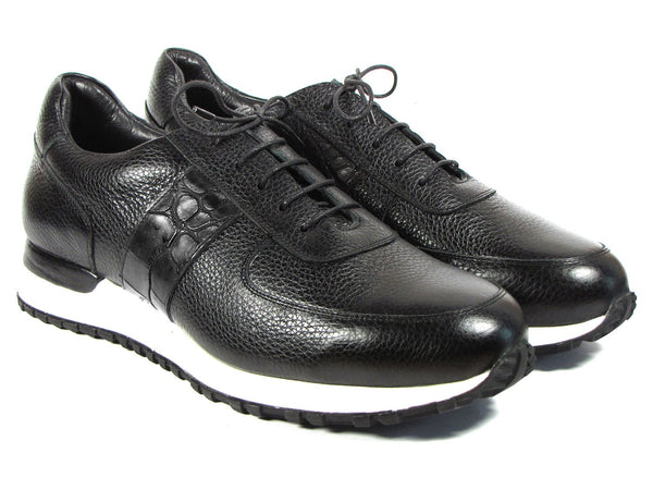 Paul Parkman Men's Black Floater Leather Sneakers (ID#LP206BLK)