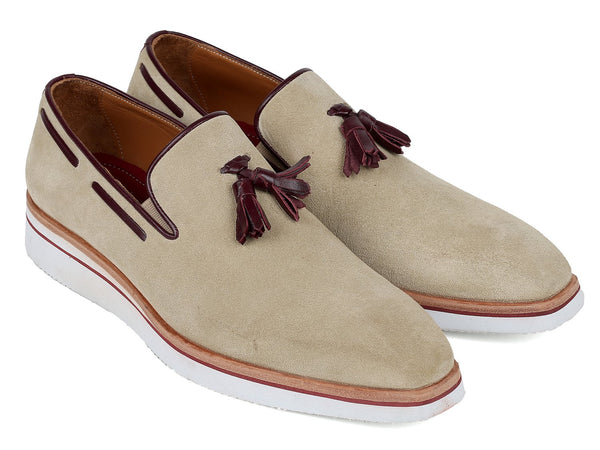 Paul Parkman Men's Smart Casual Tassel Loafers Beige Suede (ID#181-BEI-SD)
