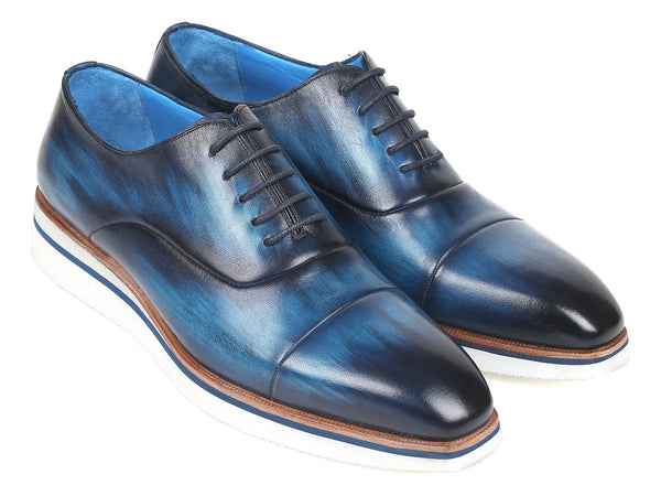 Paul Parkman Men's Smart Casual Oxfords Blue Leather (ID#185-BLU-LTH)