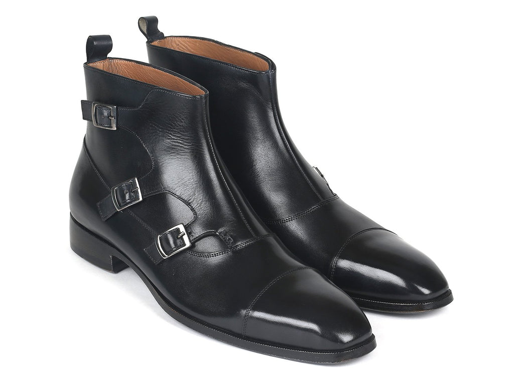 Paul Parkman Triple Monkstrap Boots Black Leather (ID#88951-BLK)