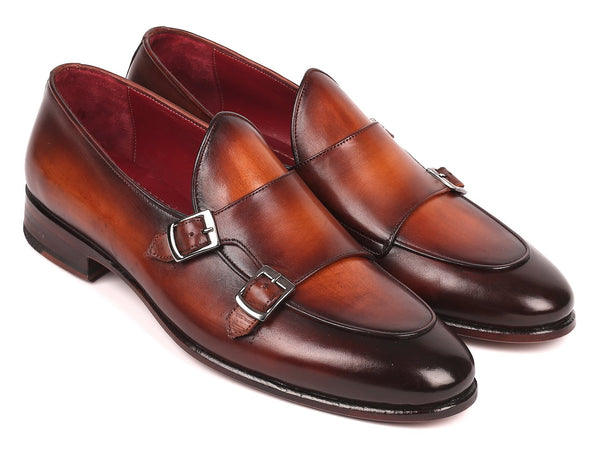 Paul Parkman Men's Brown Double Monkstrap Shoes (ID#HT61BRW)