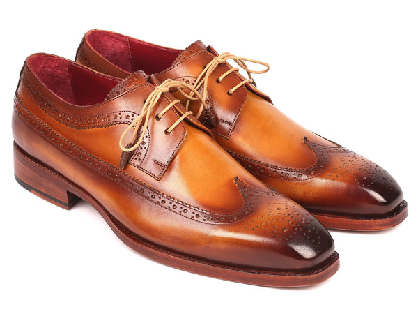 Paul Parkman Goodyear Welted Wingtip Derby Shoes Camel (ID#511C74)