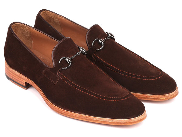 Paul Parkman Men's Horsebit Loafers Brown Suede (ID#64HB36)