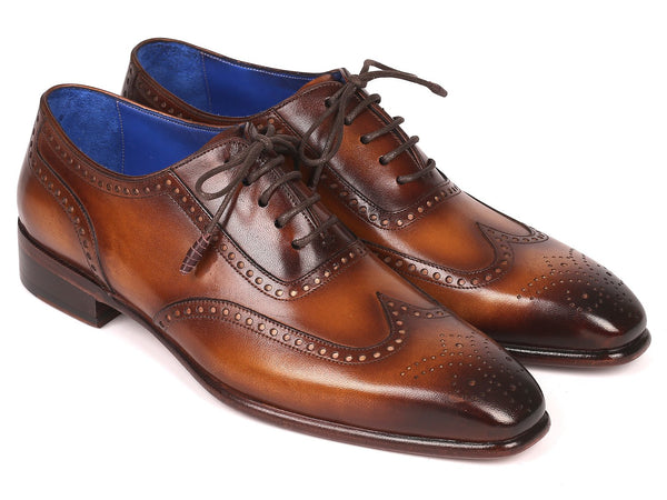 Paul Parkman Men's Handmade Wingtip Oxfords Brown (ID#711W03)