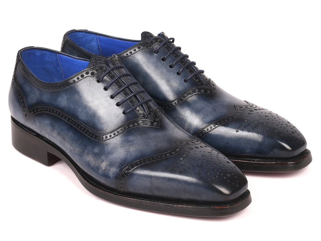 Paul Parkman Men's Goodyear Welted Oxford Shoes Navy (ID#094-NVY)