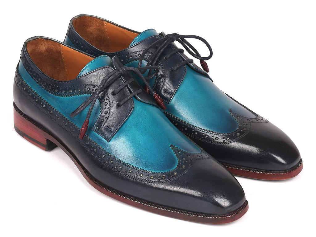 Paul Parkman Men's Blue Dual Tone Wingtip Derby Shoes (ID#6931BLU)
