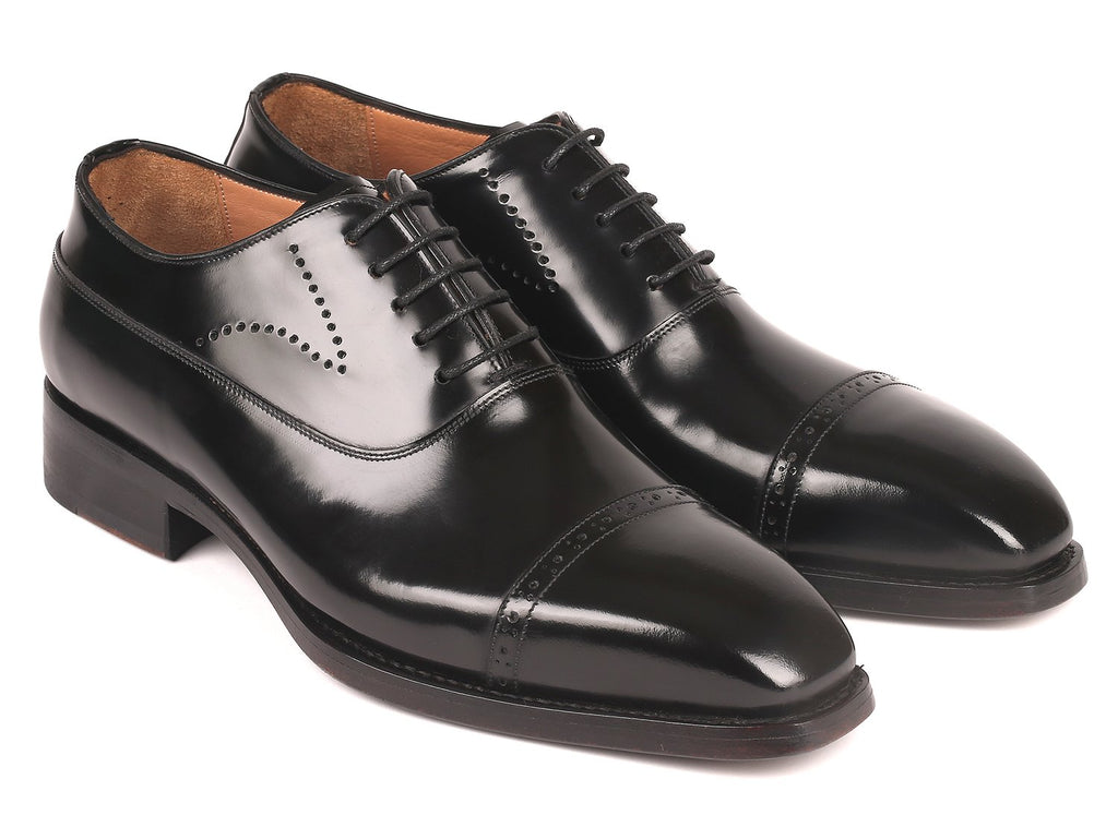 Paul Parkman Goodyear Welted Cap Toe Oxfords Black Polished Leather (ID#056BLK84)