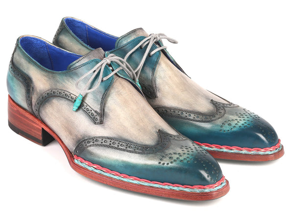 Paul Parkman Norwegian Welted Wingtip Derby Shoes Blue & Grey (ID#8506-BLU)