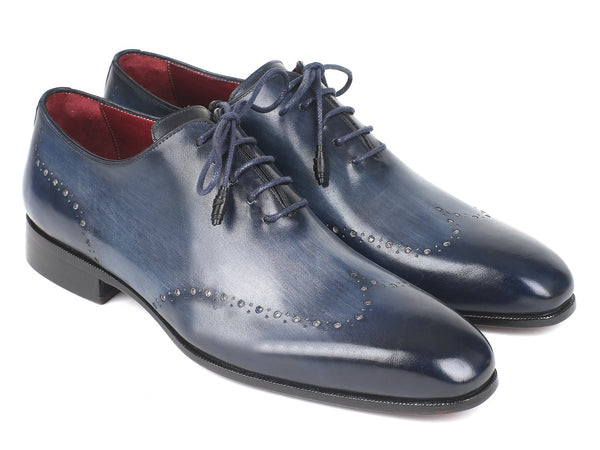 Paul Parkman Men's Navy Burnished Wingtip Oxfords (ID#84NT56)