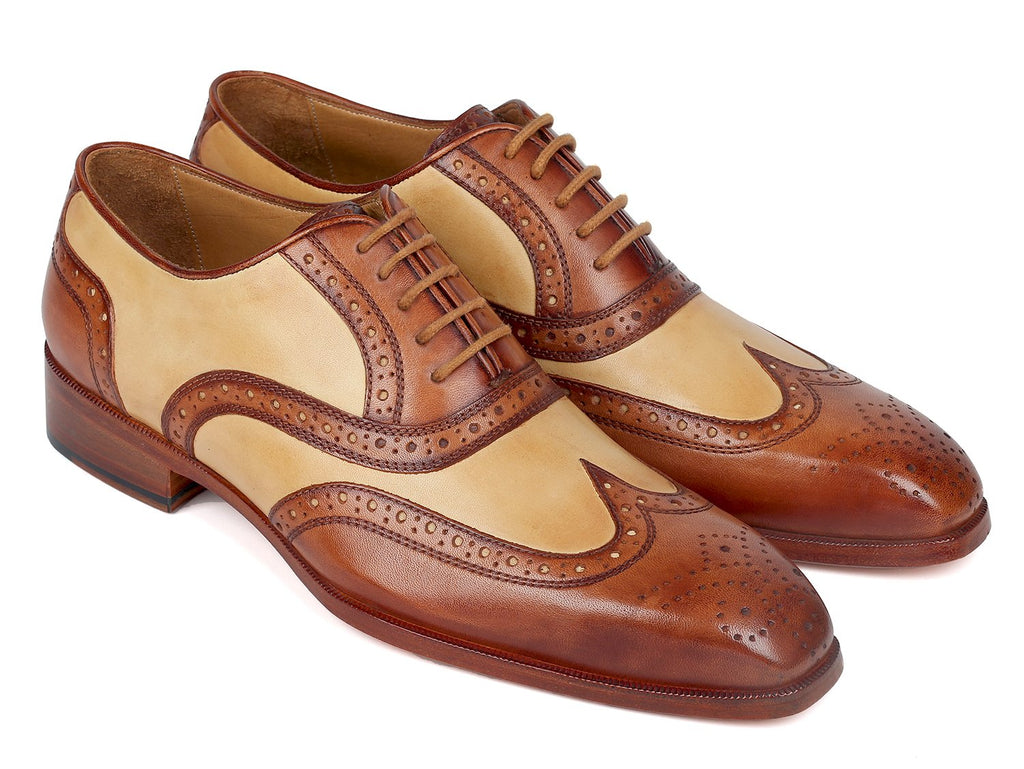 Paul Parkman Brown & Beige Dual Tone Oxfords (ID#224BJ57)
