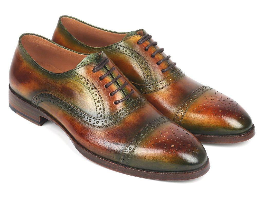 Paul Parkman Men's Cap Toe Oxfords Green & Brown (ID#266GB79)