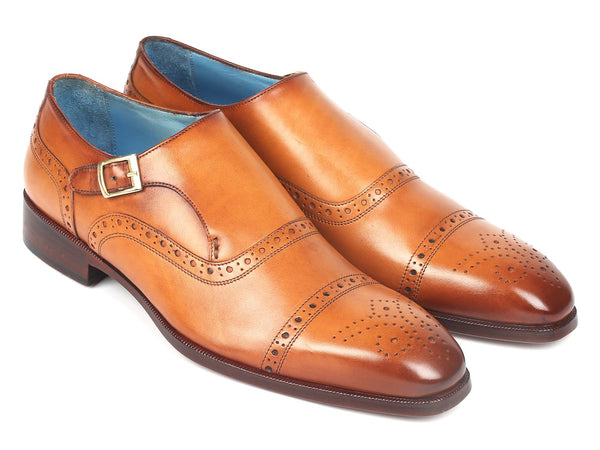 Paul Parkman Men's Cap Toe Monkstrap Shoes Cognac (ID#65CGN97)