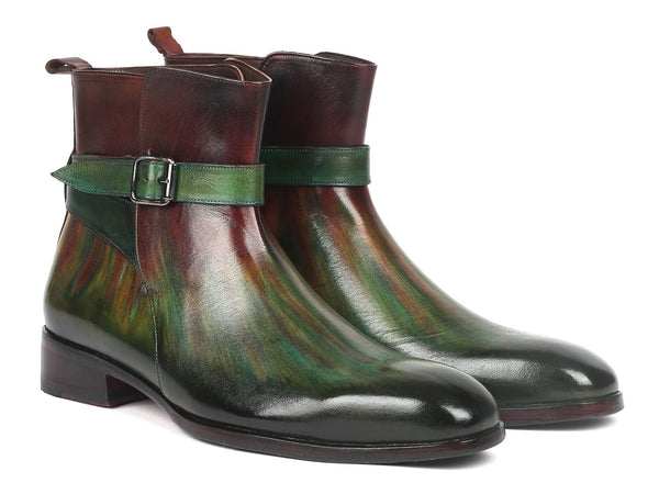 Paul Parkman Men's Jodhpur Boots Green & Bordeaux (957FRS84)