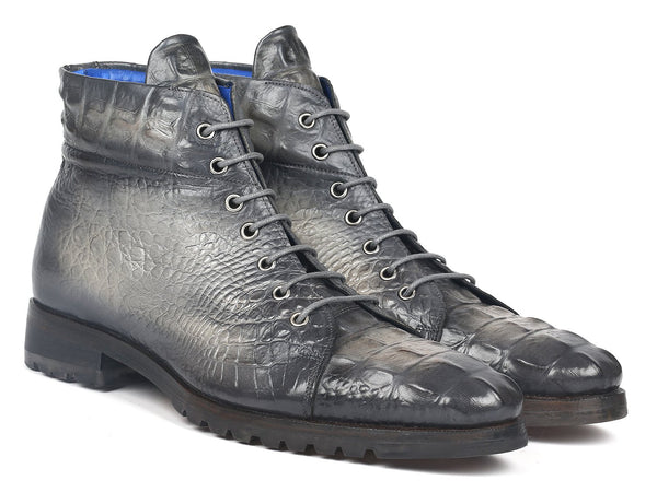 Paul Parkman Men's Gray Croco Embossed Leather Boots (12811-GRY)