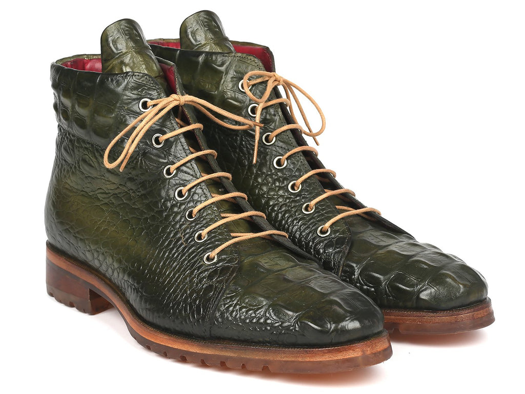 Paul Parkman Men's Green Croco Embossed Leather Boots (12811-GRN)