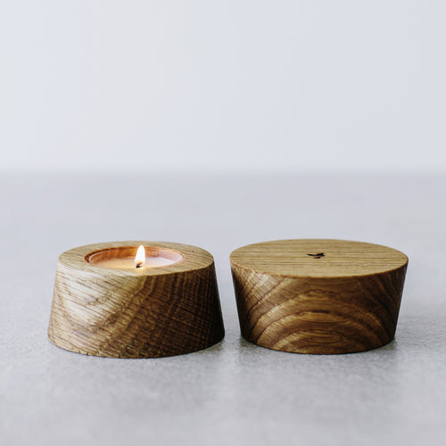 OILED OAK CANDLEHOLDER
