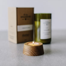 PLUM & RHUBARB WINE BOTTLE CANDLE + CANDLEHOLDER