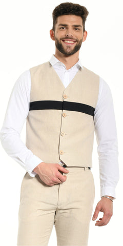 VEST BEIGE WITH BLACK STRIP
