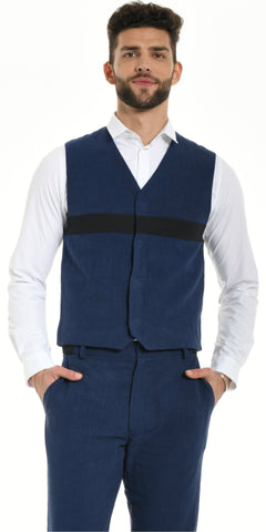 VEST BLUE WITH BLACK STRIP
