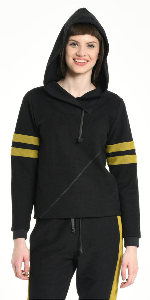 HOODIE DARK GREY WITH YELLOW STRIPS