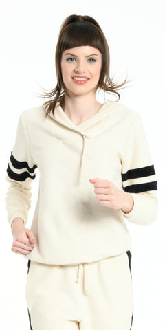 HOODIE OFF WHITE WITH BLACK STRIPS