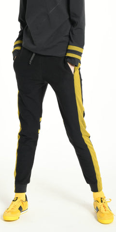 JOGGING PANTS DARK GREY WITH YELLOW STRIP