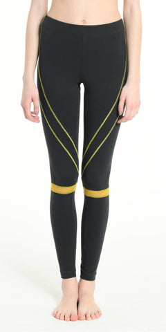 LEGGINGS DARK GREY  WITH YELLOW STRIPS