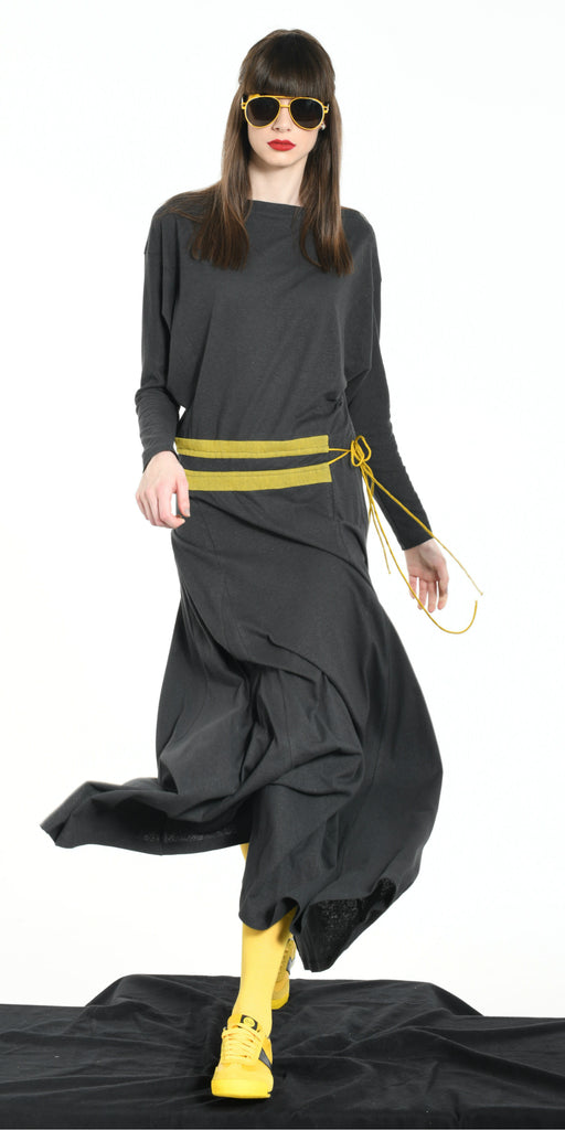 LONG DRESS DARK GREY WITH YELLOW STRIPS