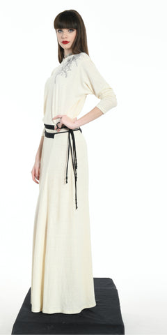 LONG DRESS OFFWHITE WITH BLACK STRIPS