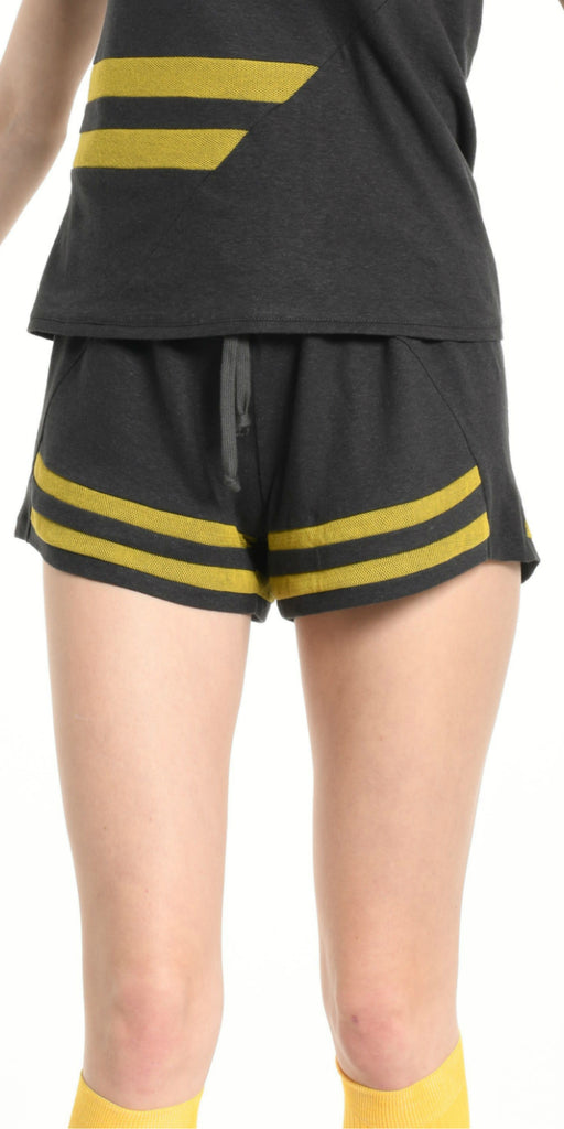 MINISHORT DARK GREY  WITH YELLOW STRIPS