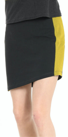 SKIRT DARK GREY WITH YELLOW STRIP