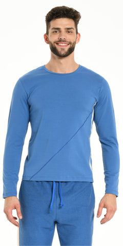 TEE SHIRT LONG SLEEVES BLUE WITH OFFWHITE STRIPS
