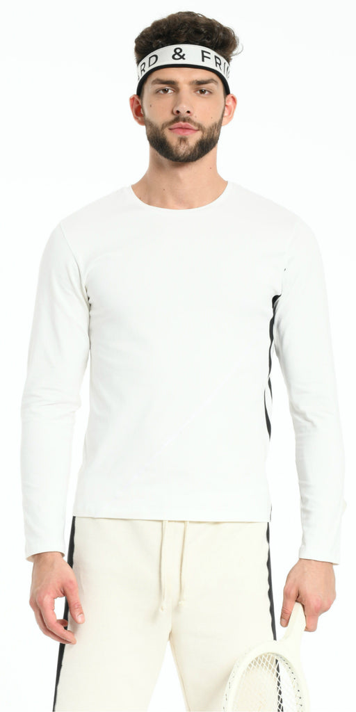 TEE SHIRT LONG SLEEVES OFFWHITE WITH BLACK STRIPS