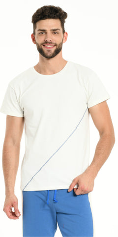 TEE SHIRT OFF WHITE DIAGONAL SEWING BLUE