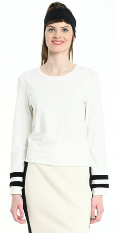 TEE SHIRT LONG SLEEVES OFF WHITE WITH BLACK STRIPS
