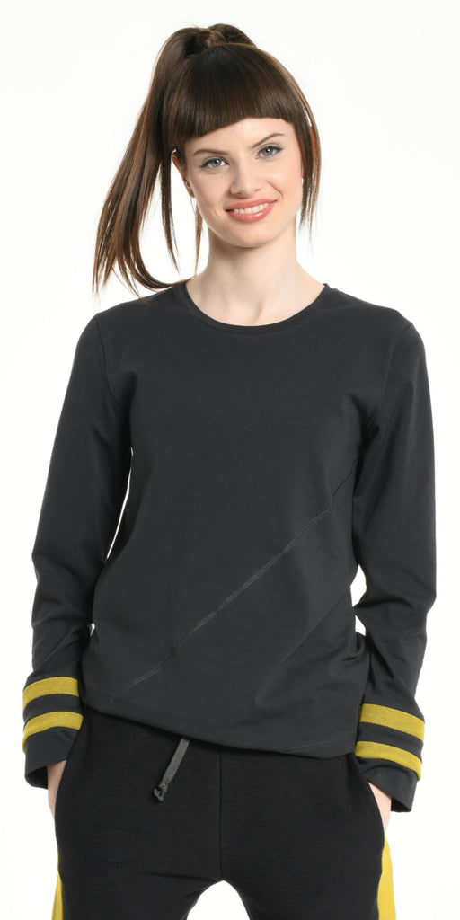 TEE SHIRT LONG SLEEVES DARK GREY WITH YELLOW STRIPS