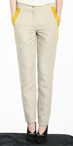 TROUSERS BEIGE WITH YELLOW STRIP